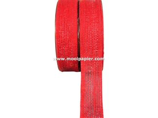 Jute band 25 mm Rood